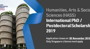 NTU HASS International PhD Scholarship/PostdoctoralFellowship, 2019