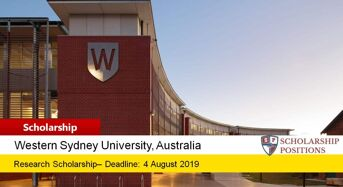 Western Sydney University Research Scholarships in Australia, 2019-2020