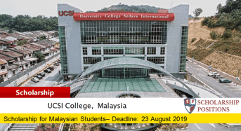 UCSI University Trust SACE International Scholarship in Malaysia, 2019