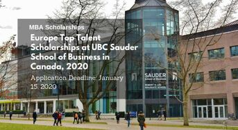 Europe Top Talent Scholarships at UBC Sauder School of Business in Canada, 2020