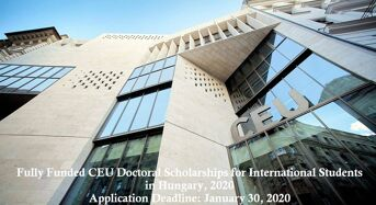 Fully Funded CEU Doctoral Scholarships for International Students in Hungary, 2020