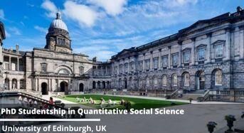 PhD Studentship in Quantitative Social Science at University of Edinburgh, UK