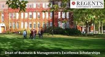Dean of Business & Management's Excellence Scholarships at Regent's University London, UK