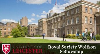 Royal Society Wolfson Fellowship for UK and EU Students at University of Leicester, 2020