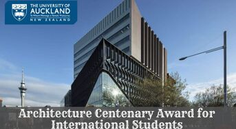 Architecture Centenary Award for International Students at University of Auckland, 2020