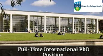 Full-TimeInternational PhD Position at University College Dublin in Ireland, 2020