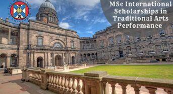 MSc international awards in Traditional Arts Performance at University of Edinburgh, 2020