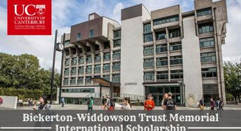 Bickerton-WiddowsonTrust Memorial International Scholarship at University of Canterbury in New Zealand, 2020