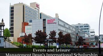 Events and Leisure Management Dean's International Scholarship at Sheffield Hallam University, 2020