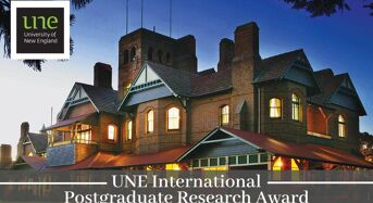 UNE International Postgraduate Research Award (IPRA) in Australia, 2020