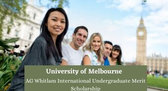 University of Melbourne AG Whitlam International Undergraduate Merit Scholarship in Australia