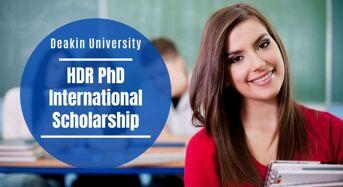 Deakin University HDR PhD international awards in Australia, 2020