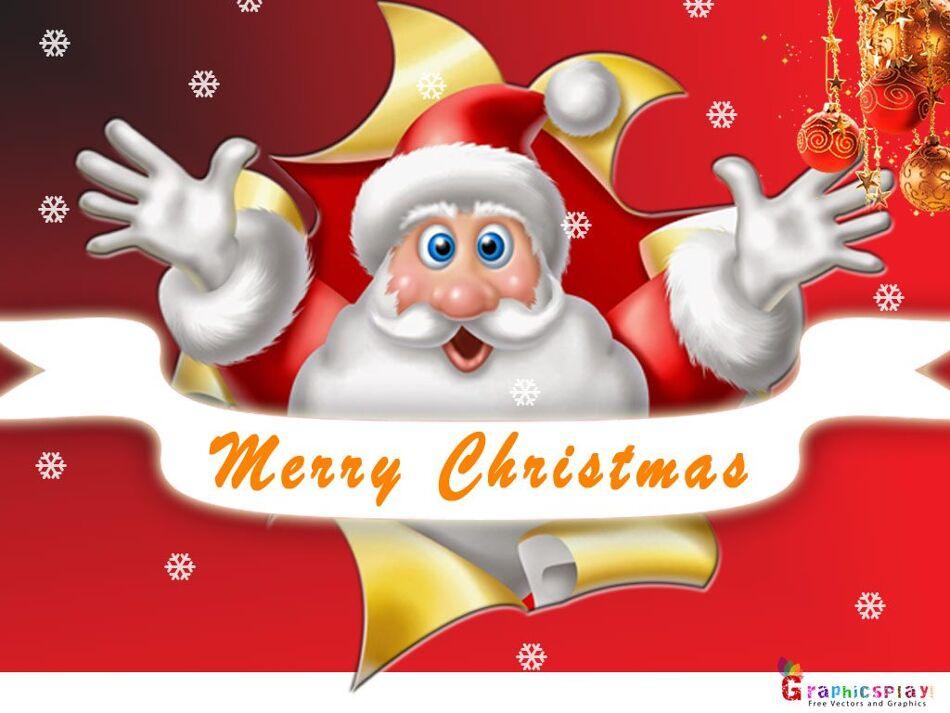 Christmas Greeting With Santa JPG and PSD 1