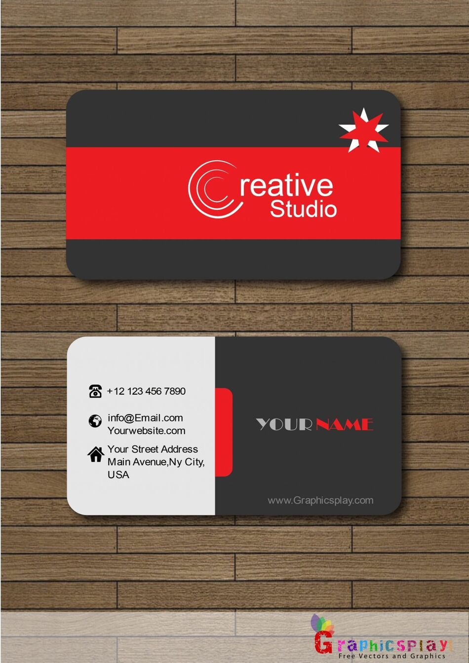 Business Card With Red and Black Combination Vector 1