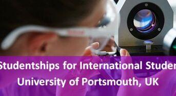 PhD Studentships for International Students at University of Portsmouth, UK, 2019