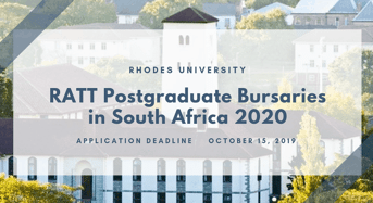 Rhodes University RATT Postgraduate Bursaries in South Africa 2020
