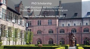 PhD Positions for International Students at Ghent University in Belgium, 2020