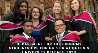 Department for the Economy Research Studentships for UK & EU at Queen's University Belfast, 2020