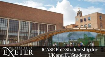 ICASE PhD Studentship for UK and EU Students at University of Exeter, 2020