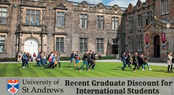 Recent Graduate Discount for International Students at University of St Andrews in UK, 2020