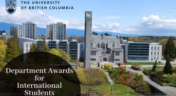 Department Awards for International Students at University of British Columbia in Canada, 2020