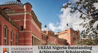 UKEAS Nigeria Outstanding Achievement Scholarships at University of Birmingham in UK, 2020