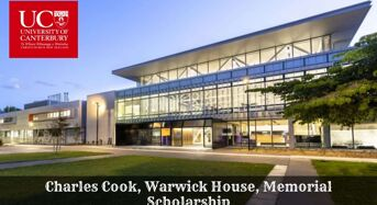 University of Canterbury International Charles Cook, Warwick House, Memorial Scholarship in New Zealand