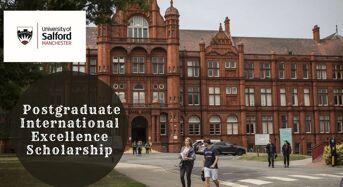 Salford Business School Postgraduate International Excellence Scholarship in UK, 2020