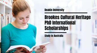 Deakin University Brookes Cultural Heritage PhD international awards in Australia, 2021