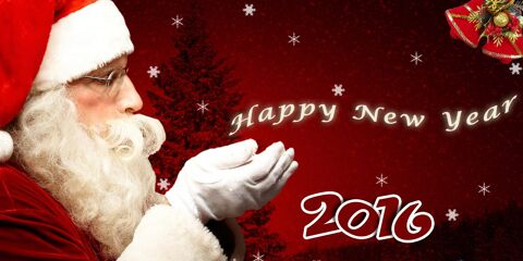 New Year Greeting with Santa JPG and PSD 3