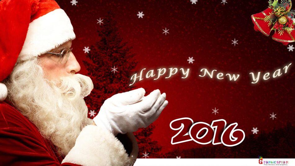 New Year Greeting with Santa JPG and PSD 1