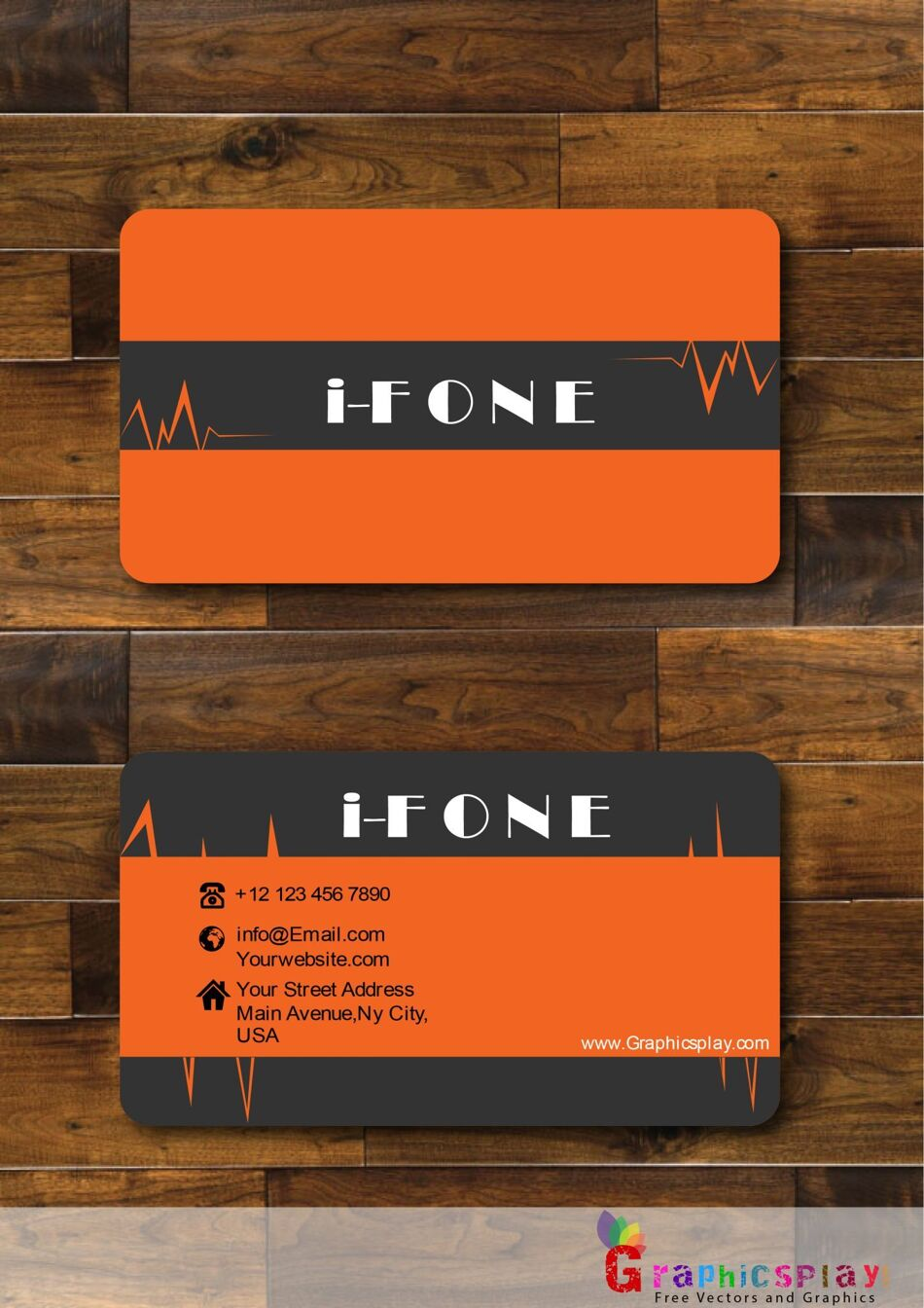 Business Card With Orange and Black Combination Vector 1