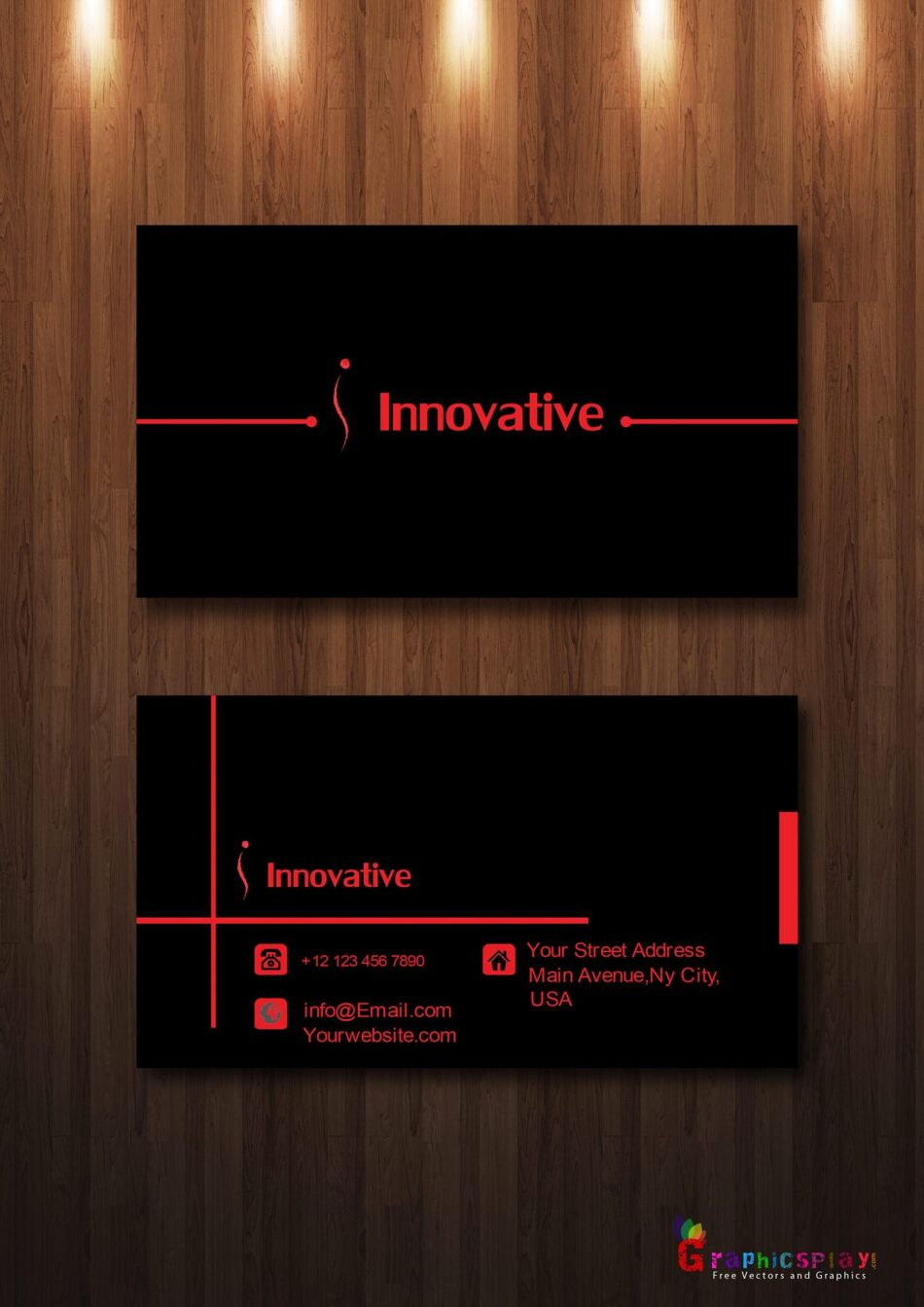 Simple Business Card With Red and Black Combination Vector 1