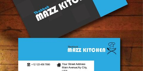 Black and Blue Business Card Vector for Food and Catering 1